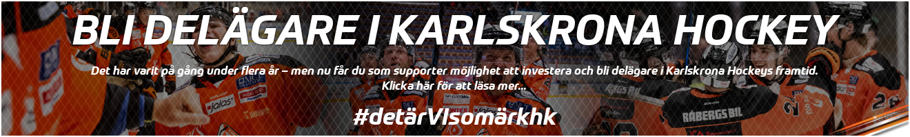 Banner för Bli delägare i Karlskrona Hockey, länkad till information om aktierförsäljning