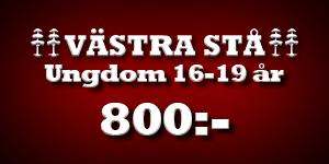Västra stå ungdom 16-19 år 800kr